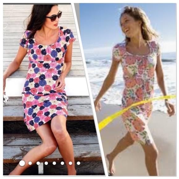 Boden Dresses Purplewhite Floral Breezy Beach Dress Poshmark